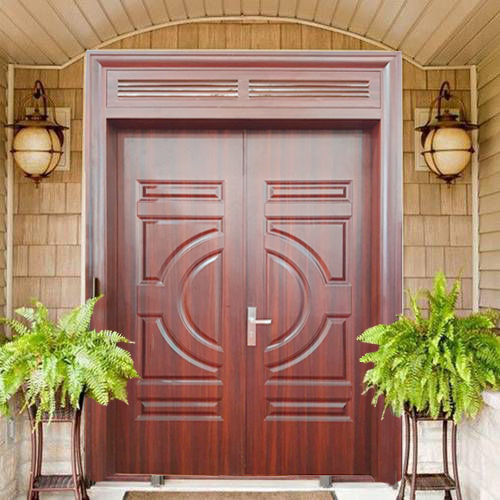 cửa thép vân gỗ 2 cánh cân